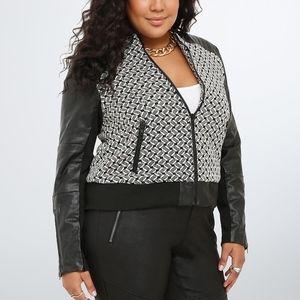 NEW Jacquard Knit Faux Leather Moto Bomber Jacket
